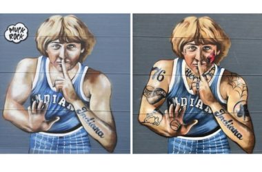 A side-by-side comparison of Jules Muck's mural depicting Larry Bird before and after a majority of the tattoos were removed.