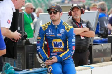 Alexander Rossi sits in the pit area before the start of the final practice session for the Indianapolis 500 IndyCar auto race at Indianapolis Motor Speedway, May 24, 2019.
