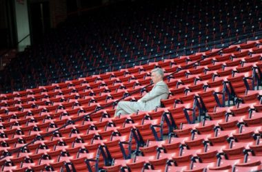 Red Sox president of baseball operations Dave Dombrowski watches batting practice from the stands.