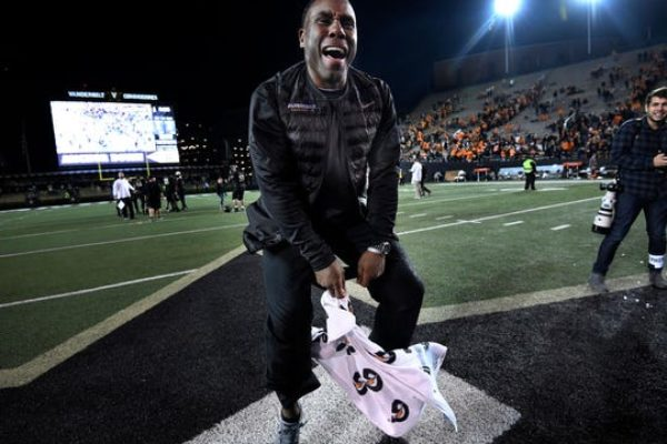Vanderbilt head coach Derek Mason celebrates last season's win over Tennessee at Vanderbilt Stadium.