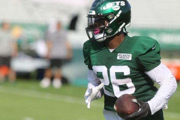 Running back Le'Veon Bell after catching a pass on the first day of training camp for the NY Jets at the Atlantic Health Training Center in Florham Park, NJ on July 25, 2019.