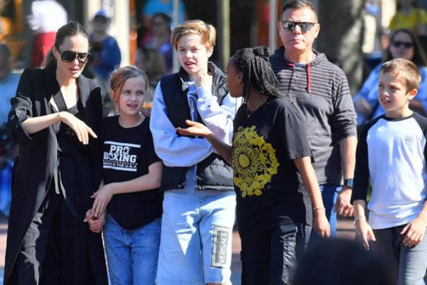 Angelina Jolie and her kids