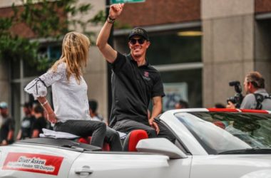 Indy Lights Freedom 100 Champion, Oliver Askew waves to fans during the annual IPL 500 Festival Parade in Indianapolis, on Saturday, May 25, 2019.