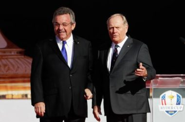 In a file photo from 2016, former Ryder Cup captains Tony Jacklin (left) of Europe and Jack Nicklaus of the United States speak during the Ryder Cup Opening Ceremony at Hazeltine National Golf Club.
