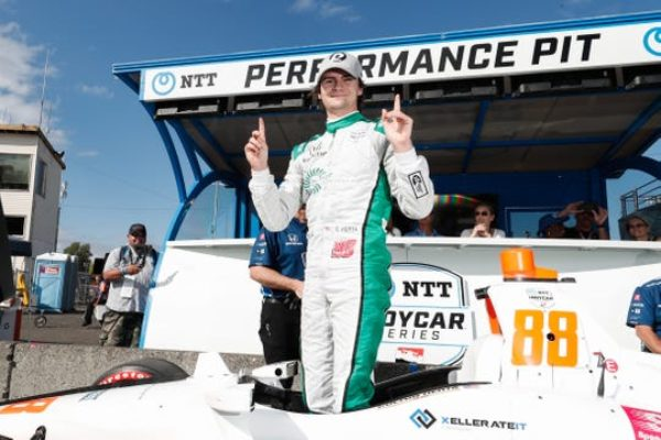 Colton Herta won the pole at the IndyCar race in Portland on Saturday