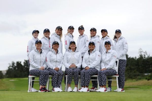 (Standing from left to right) Brittany Altomare, Angel Yin, Lexi Thompson, Jessica Korda, Nelly Korda, Annie Park, Danielle Kang, Ally McDonald and (Sitting from left to right) Morgan Pressel, Megan Khang, captain Juli Inkster, Lizette Salas and Marina Alex pose for the official Team USA photo.