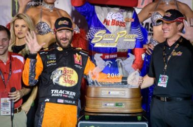 Martin Truex Jr., left, celebrates in victory lane after winning the South Point Hotel & Casino 400 at Las Vegas Motor Speedway.