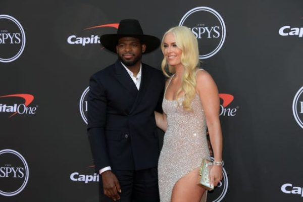 NHL player P.K. Subban and retired skier Lindsey Vonn arrive on the red carpet at Microsoft Theatre for the ESPYS.