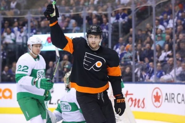 Left wing James van Riemsdyk, celebrating his hat trick during a March 15 game, is the Philadelphia Flyers player representative.